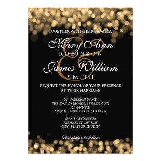 Elegant bröllopguldljus inbjudan