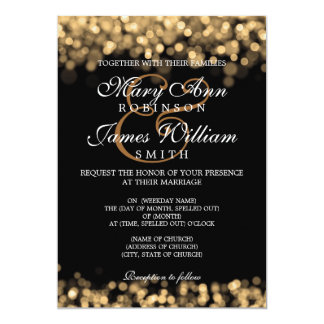 Elegant bröllopguldljus 12,7 x 17,8 cm inbjudningskort