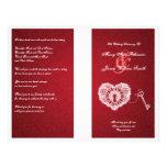 Elegant bröllopprogramnyckel till min röda hjärta