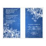 Elegant bröllopprogramvintage virvlar runt blått flyg blad