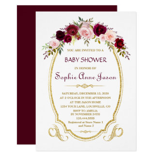 Elegant Burgundy Marsala blom- nedgångbaby shower 11,4 X 15,9 Cm Inbjudningskort