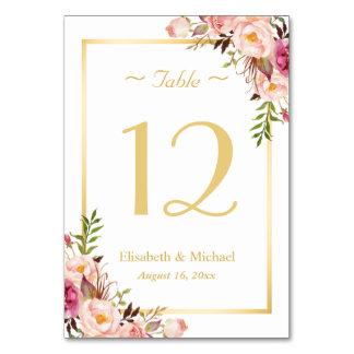 Elegant chic rosa blom- guld- gifta sig bordsnummer