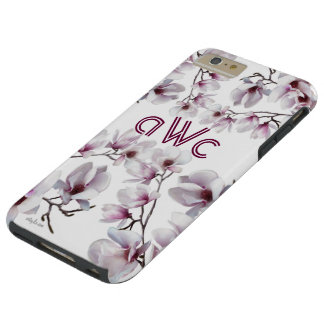 Elegant chic rosa magnoliamonogram tough iPhone 6 plus skal