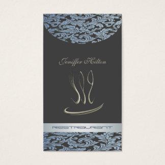 Elegant chic vintage för restaurant/cateringdamast visitkort