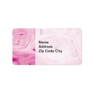 Elegant design för blomma för rosa ros för adressetikett