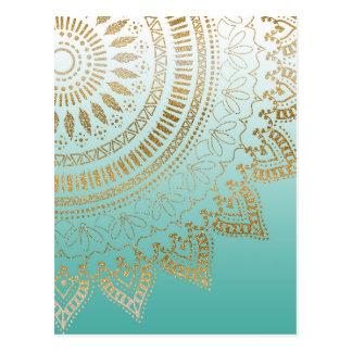 Elegant design för nätt mandala för hand plockade vykort