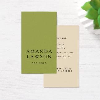Elegant enkelt oliv grönt och beige visitkort