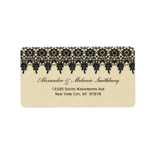 Elegant etikett för adress för arabesquesvartsnöre adressetikett