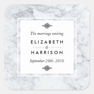 Elegant favör för vintagemarmorbröllop fyrkantigt klistermärke