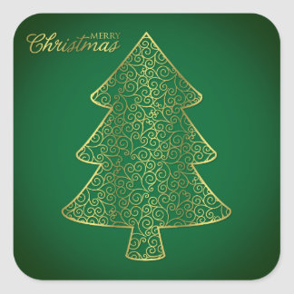 Elegant filigree julgran fyrkantigt klistermärke