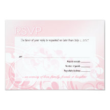 Elegant Filigree Swirls RSVP | blush pink 8,9 X 12,7 Cm Inbjudningskort