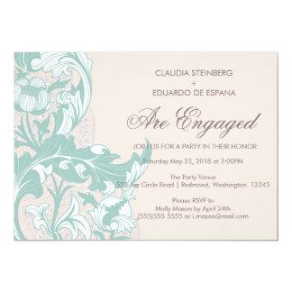 Elegant flott blommigt - rodna rosa, Mint 12,7 X 17,8 Cm Inbjudningskort