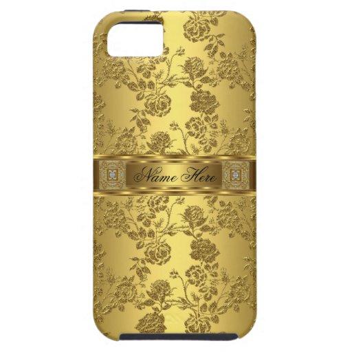 elegant flott guld- damastast blommigt för iPhone  iPhone 5 Case-Mate Skydd