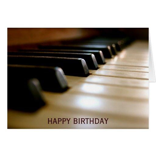 Elegant födelsedag för pianotangentbordmusik hälsnings kort
