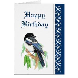 Elegant födelsedag, skata, fågelnaturdjurliv hälsningskort