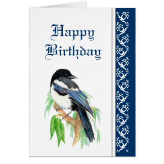 Elegant födelsedag, skata, fågelnaturdjurliv kort