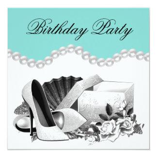 Elegant födelsedagsfest för vit roskrickablått fyrkantigt 13,3 cm inbjudningskort