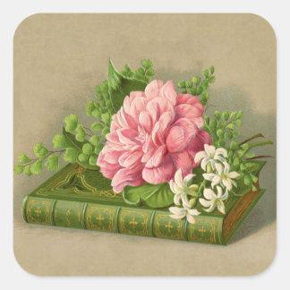 Elegant för bok för blom- pion för vintage flott fyrkantigt klistermärke