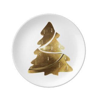 Elegant för Look för god julträd guld- Porslinstallrik