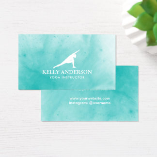 Elegant för turkos för Yogainstruktörvattenfärg Visitkort
