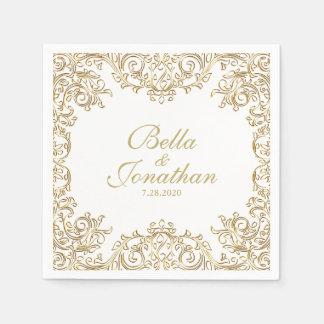 Elegant formell bröllopguld- & vitanpassningsbar servetter