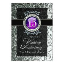 Elegant glamour utföra i relief 15th årsdag 12,7 x 17,8 cm inbjudningskort