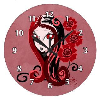 Elegant gotisk dam med röda ro stor klocka