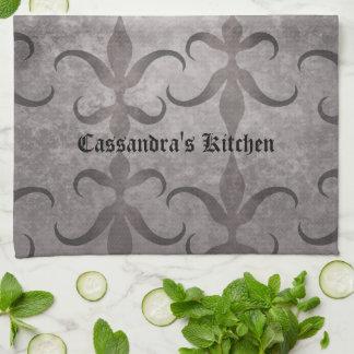 Elegant gotisk gråttdesignpersonlig kökshandduk