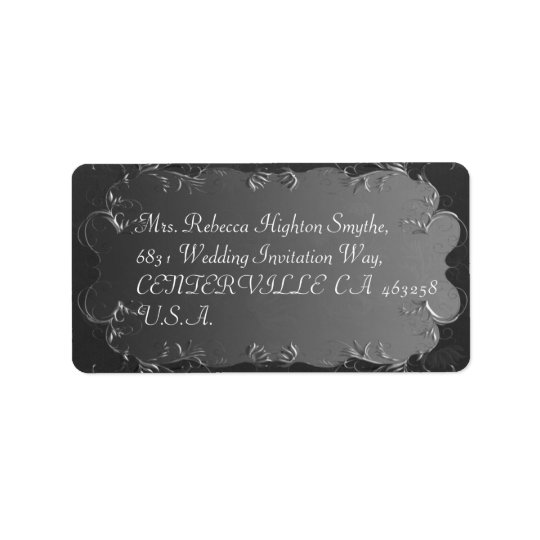 Elegant grå färg- och silverbröllopadressetiketter adressetikett