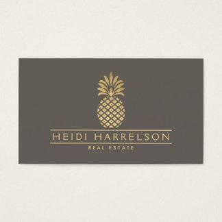 Elegant guld- ananaslogotyp på Taupe Visitkort