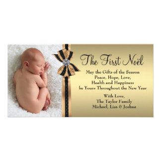 Elegant guld- baby första jul fotokort