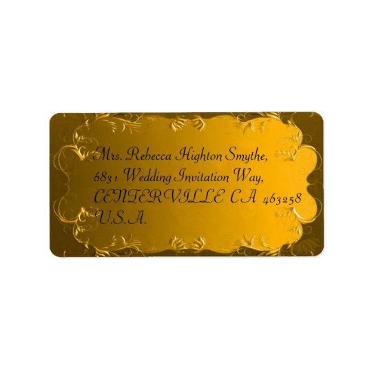 Elegant guld- bröllopadressetiketter adressetikett
