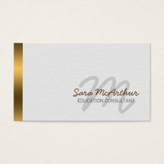 Elegant guld- Cursive Monogram för Visitkort