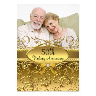 Elegant guld- damastast årsdag för foto 50th 12,7 x 17,8 cm inbjudningskort