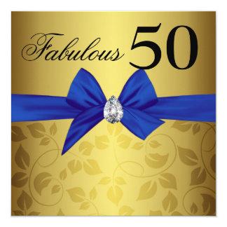 Elegant guld- dekorativ pilbågeGem sagolika femtio Fyrkantigt 13,3 Cm Inbjudningskort
