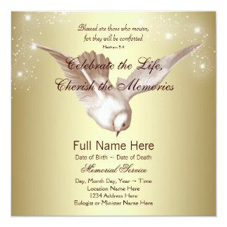 Elegant guld- duva, i att älska minnesminnesmärken fyrkantigt 13,3 cm inbjudningskort