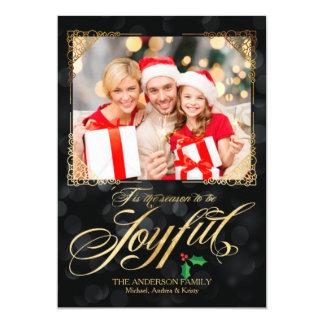 Elegant guld- glatt svart Bokeh fotojul 12,7 X 17,8 Cm Inbjudningskort