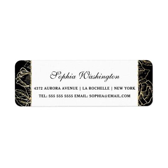Elegant guld- glitter- & svartbröllopadress returadress etikett