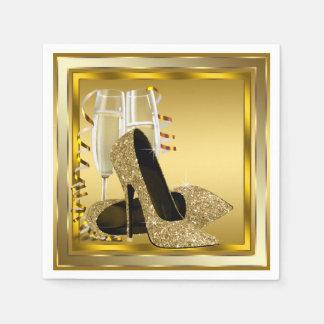 Elegant guld- glitterkickhäl papper servetter