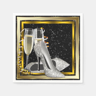 Elegant guld- glitterkickhäl servett