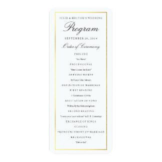 Elegant guld- gränsbröllopsprogrammall 10,2 x 23,5 cm inbjudningskort