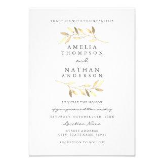 Elegant guld- inbjudan för lövträdgårdbröllop