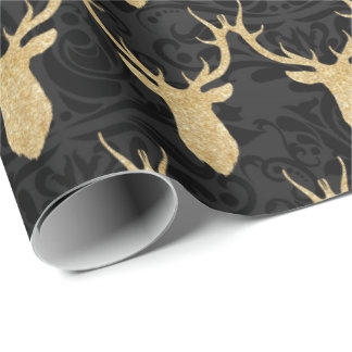 Elegant guld- julren på svart damast presentpapper