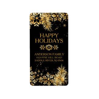 Elegant guld- julreturadressetikett adressetikett