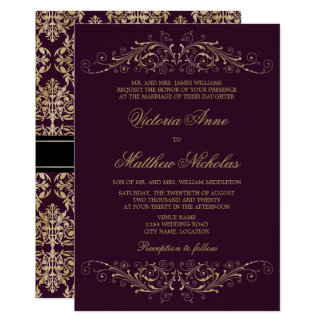 Elegant guld- krusidulldamastaubergine 12,7 x 17,8 cm inbjudningskort