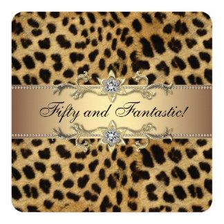 Elegant guld- Leopardfödelsedagsfest Fyrkantigt 13,3 Cm Inbjudningskort