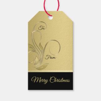 Elegant guld- och svart julgåvamärkre presentetikett