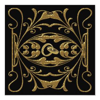 Elegant guld- och svartbröllopinbjudan fyrkantigt 13,3 cm inbjudningskort