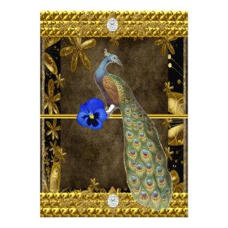 Elegant guld- påfågelinbjudan