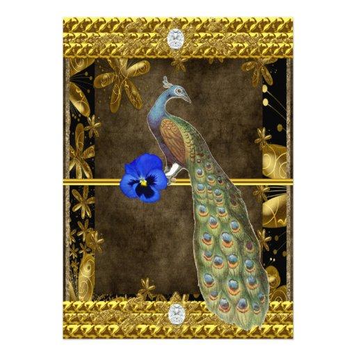 Elegant guld- påfågelinbjudan tillkännagivande